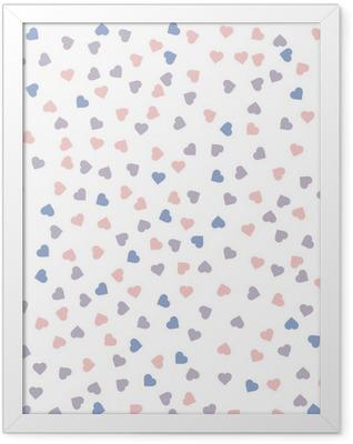 Heart seamless pattern. Vector illustration. Rose quartz and serenity colors. Framed Poster