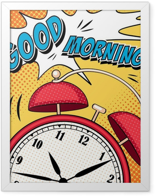 Comic illustration with alarm clock in pop art style Framed Poster