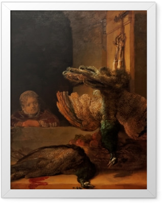 Rembrandt - Still Life with Two Peacocks and a Girl Framed Poster