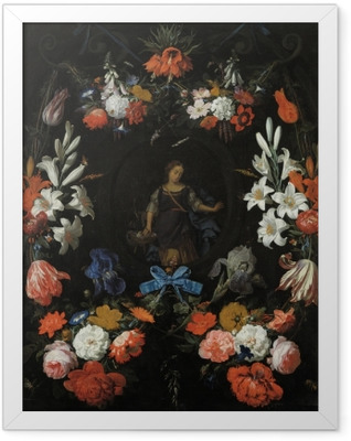 Abraham Mignon - Garland of Flowers Framed Poster