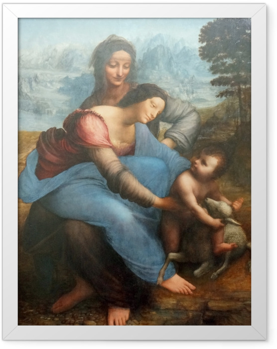 Gerahmtes Poster Leonardo da Vinci - Anna selbdritt - Reproduktion