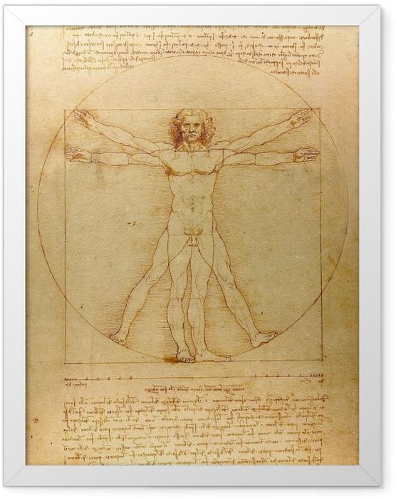 Gerahmtes Poster Leonardo da Vinci - Vitruvianischer Mensch - Reproduktion