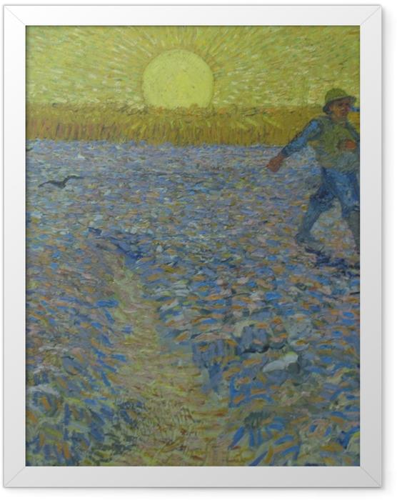 Poster en cadre Vincent van Gogh - Le semeur au coucher du soleil - Reproductions