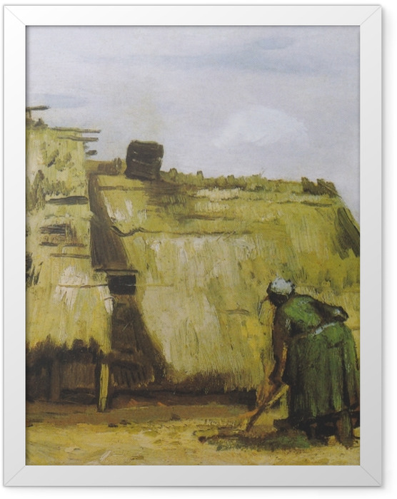 Poster en cadre Vincent van Gogh - Une paysanne creuser devant son chalet - Reproductions