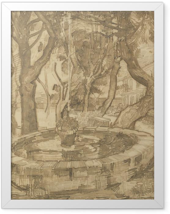 Gerahmtes Poster Vincent van Gogh - Springbrunnen im Garten der Heilanstalt - Reproductions