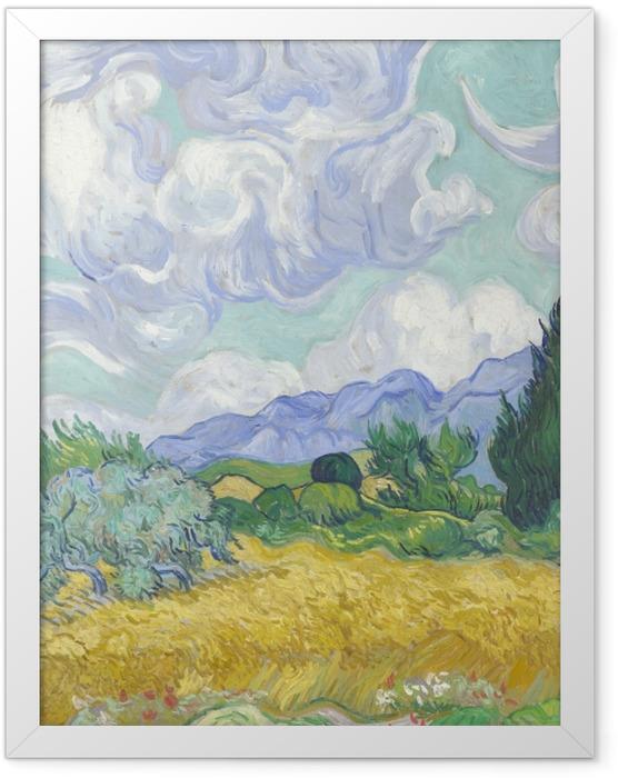 Gerahmtes Poster Vincent van Gogh - Grünes Weizenfeld mit Zypresse - Reproductions