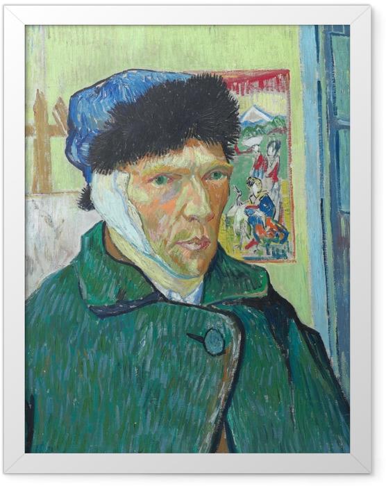 Poster en cadre Vincent van Gogh - Autoportrait à l'oreille bandée - Reproductions