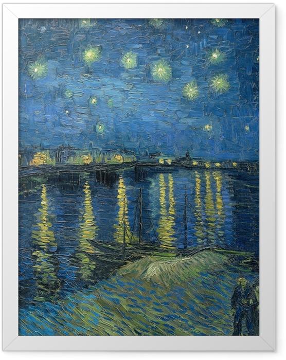 Poster en cadre Vincent van Gogh - Nuit étoilée sur le Rhône - Reproductions