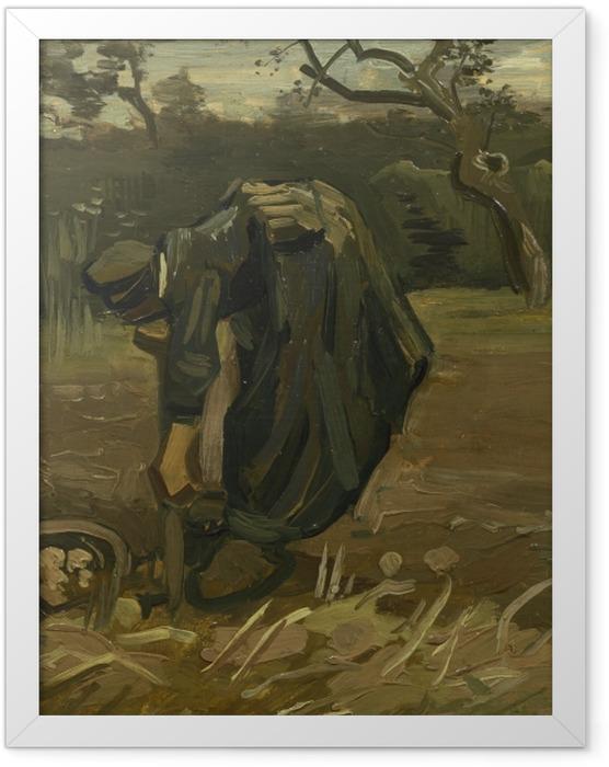 Poster en cadre Vincent van Gogh - Paysanne arrachant des pommes de terre - Reproductions