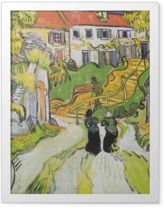 Gerahmtes Poster Vincent van Gogh - Treppe in Auvers - Reproductions