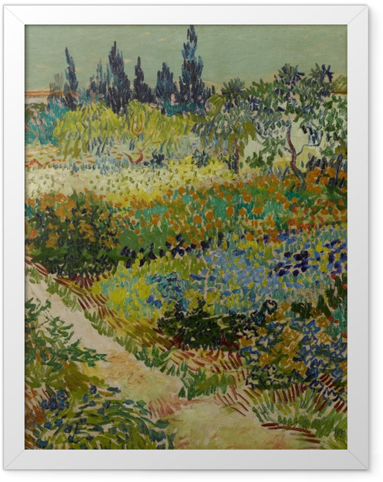 Poster en cadre Vincent van Gogh - Jardin fleuri avec chemin - Reproductions