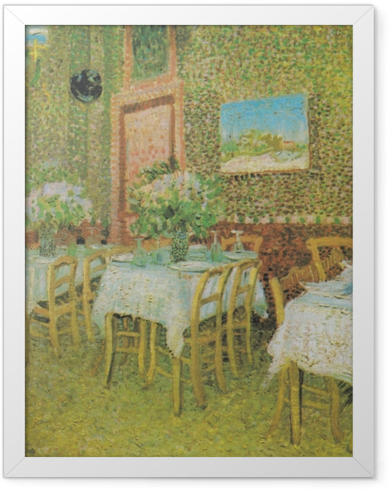 Gerahmtes Poster Vincent van Gogh - Innenraum eines Restaurants - Reproductions