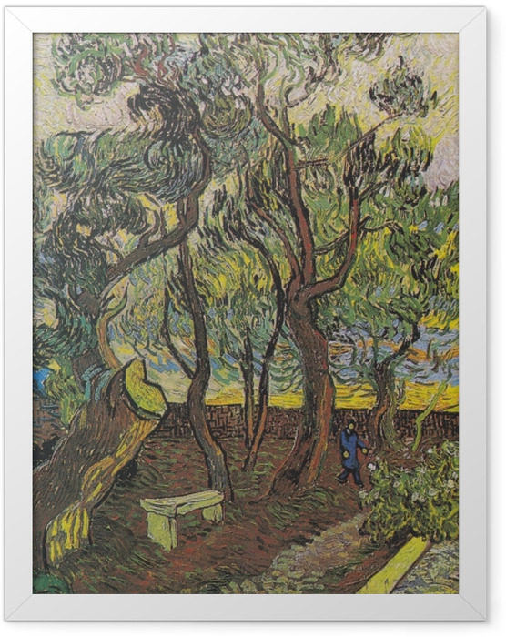 Gerahmtes Poster Vincent van Gogh - Der Garten des Hospitals Saint-Paul - Reproductions