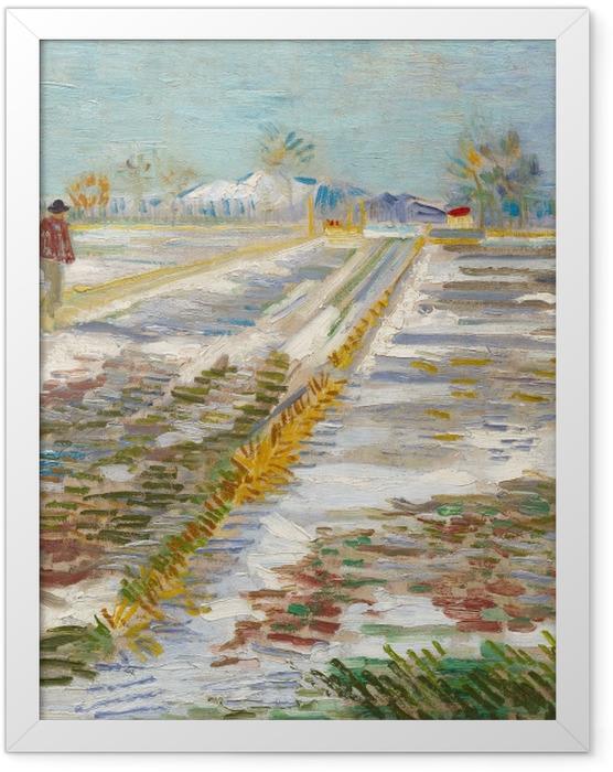 Poster en cadre Vincent van Gogh - Paysage avec la neige - Reproductions