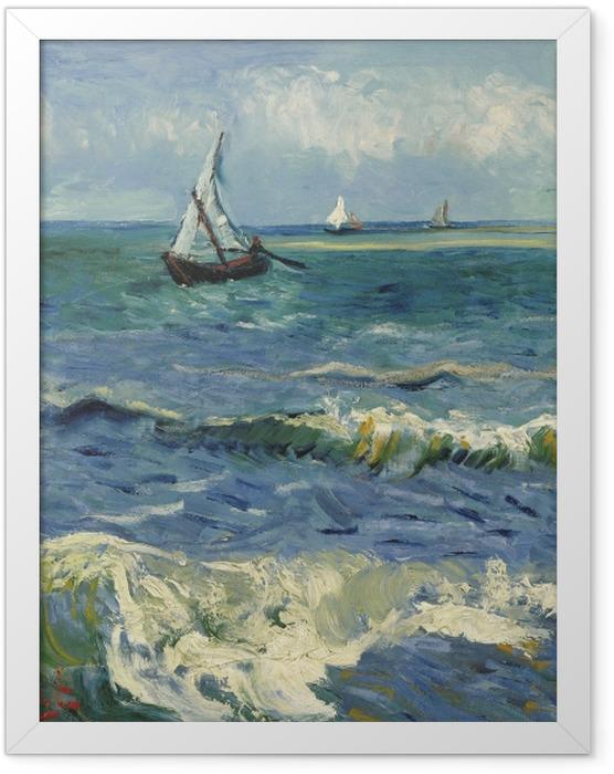 Gerahmtes Poster Vincent van Gogh - Meerblick bei Saintes-Maries - Reproductions