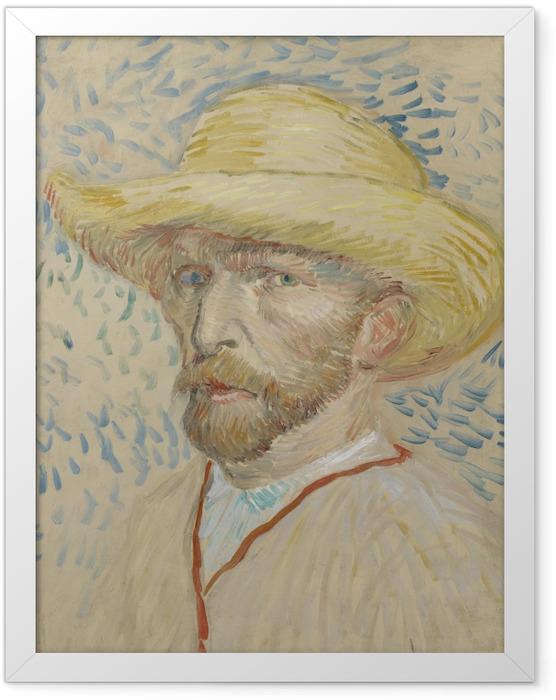 Plakat w ramie Vincent van Gogh - Autoportret w słomianym kapeluszu i fartuchu - Reproductions