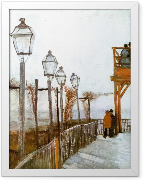 Gerahmtes Poster Vincent van Gogh - Terrasse und Aussichtsplattform der Mühle Le blute-fin, Montmartre - Reproductions