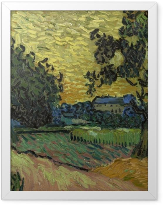 Poster en cadre Vincent van Gogh - Paysage avec le château d'Auvers au coucher du soleil - Reproductions