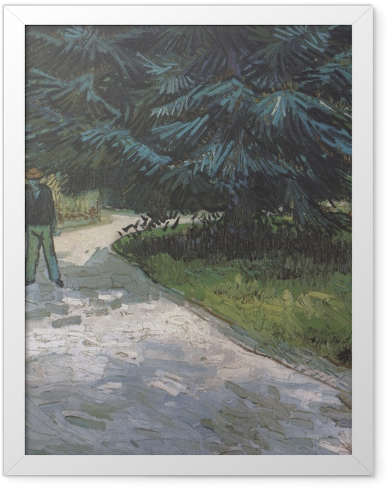 Plakat w ramie Vincent van Gogh - Para w parku z niebieskimi jodłami - Reproductions