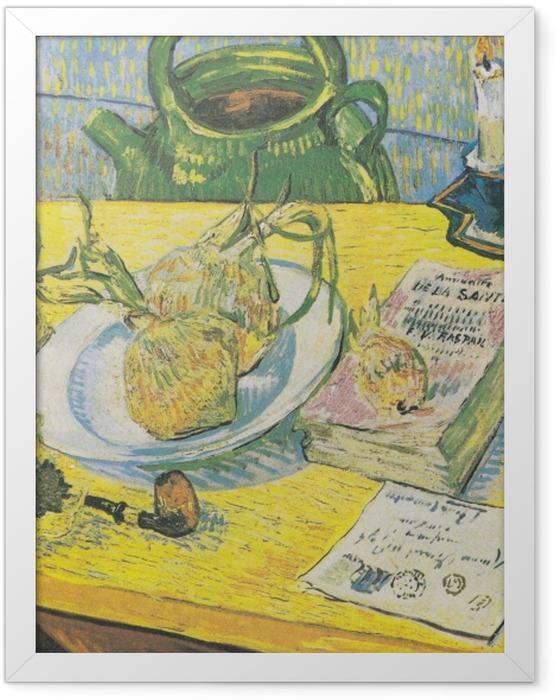 Plakat w ramie Vincent van Gogh - Martwa natura z czajnikiem, fajką i cebulami - Reproductions