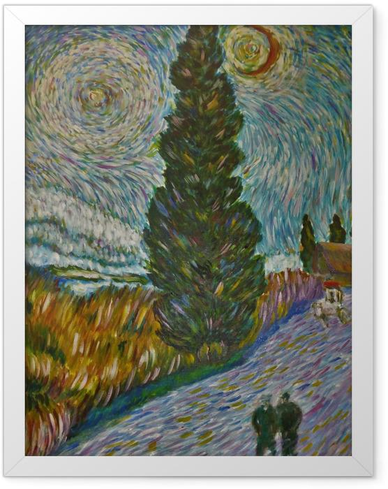 Plakat w ramie Vincent van Gogh - Droga z cyprysem i gwiazdą - Reproductions