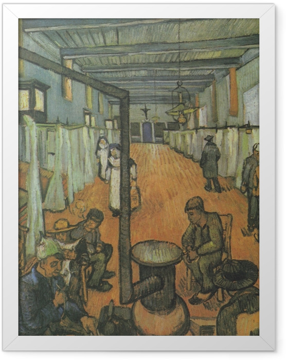 Gerahmtes Poster Vincent van Gogh - Schlafsaal im Hospital in Arles - Reproductions