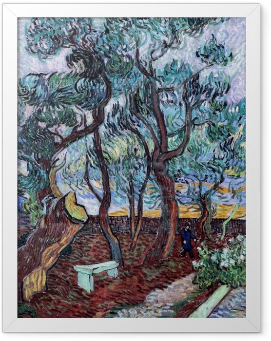 Gerahmtes Poster Vincent van Gogh - Der Irrenhausgarten in Saint-Rémy - Reproductions
