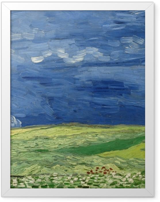 Gerahmtes Poster Vincent van Gogh - Weizenfeld unter Gewitterwolken - Reproductions