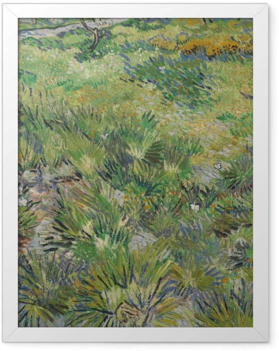 Gerahmtes Poster Vincent van Gogh - Wiese im Garten des Hospitals Saint-Paul - Reproductions