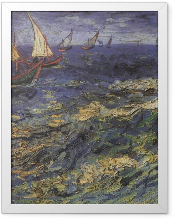 Plakat w ramie Vincent van Gogh - Pejzaż morski z żaglówką - Reproductions