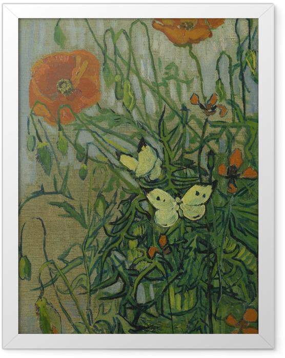 Plakat w ramie Vincent van Gogh - Motyle i maki - Reproductions