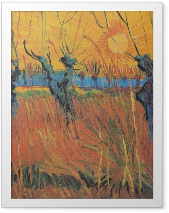 Gerahmtes Poster Vincent van Gogh - Weiden bei Sonnenuntergang - Reproductions