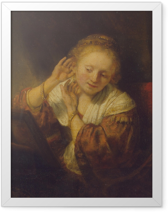 Gerahmtes Poster Rembrandt - Junge Frau mit Ohrringen - Reproduktion