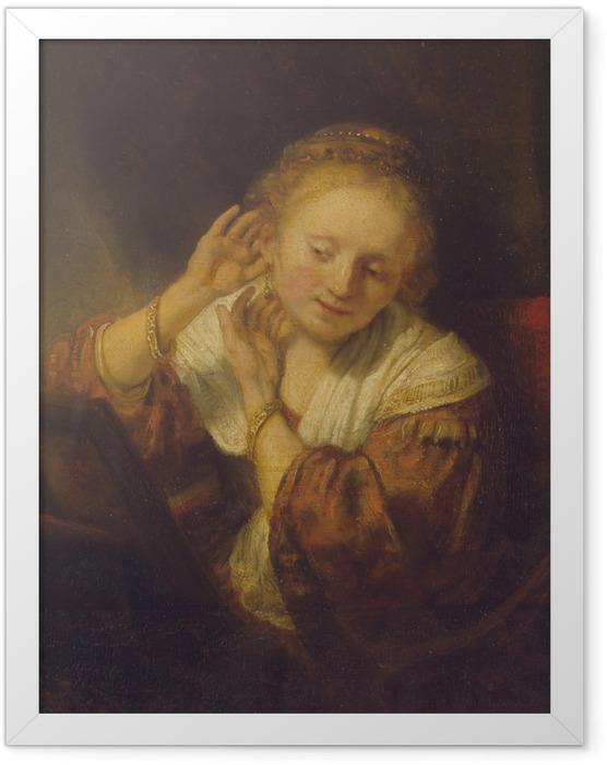 Poster en cadre Rembrandt - Jeune Fille aux boucles d'oreilles - Reproductions