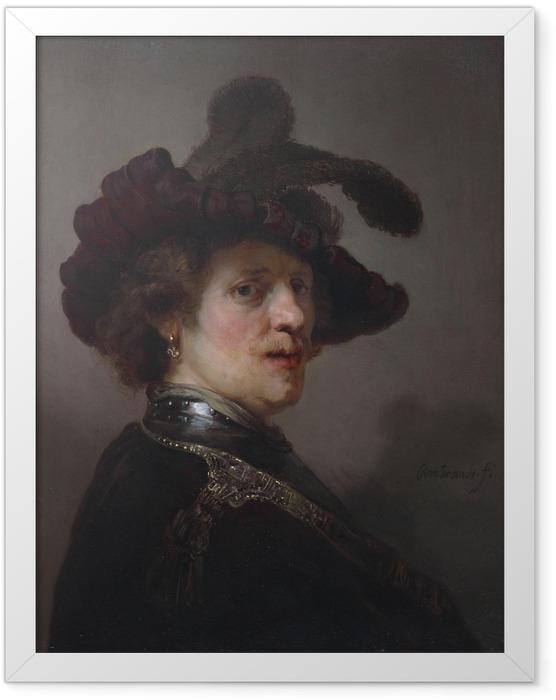 Plakat w ramie Rembrandt - Autoportret w kapeluszu z piórem - Reprodukcje