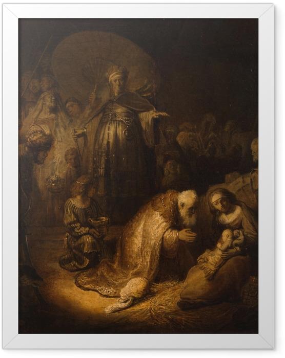 Gerahmtes Poster Rembrandt - Anbetung der Könige - Reproduktion