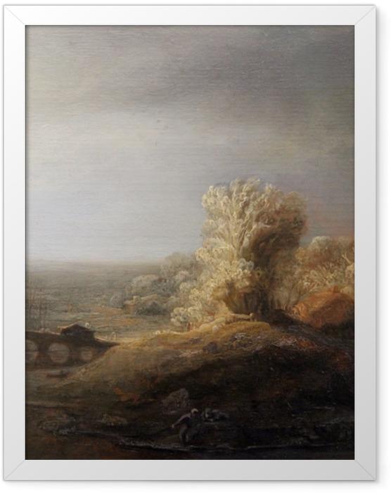 Poster en cadre Rembrandt - Paysage avec un pont de pierre - Reproductions