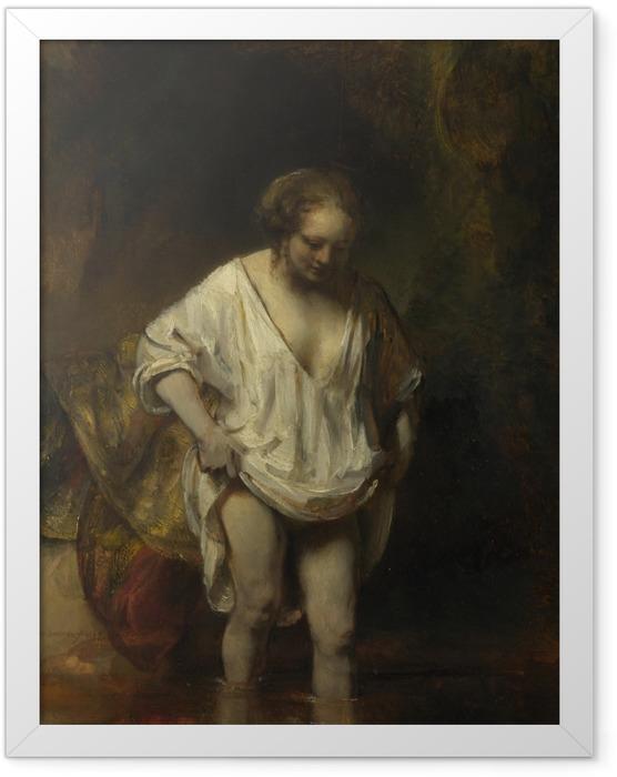 Plakat w ramie Rembrandt - Kąpiąca się dziewczyna - Reprodukcje