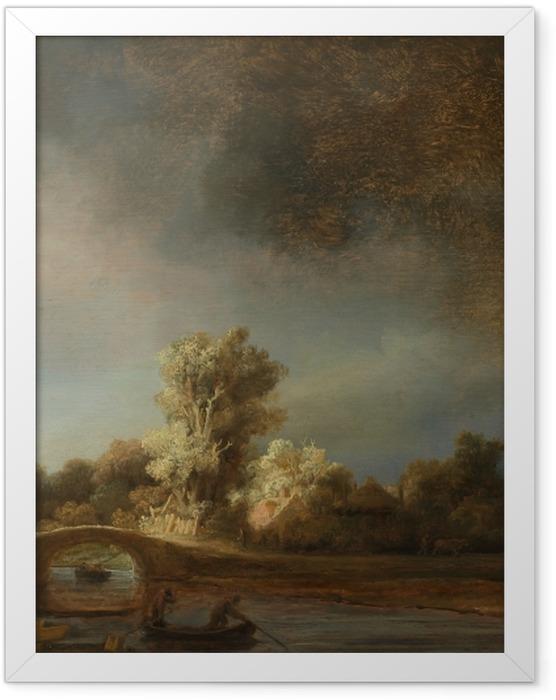Gerahmtes Poster Rembrandt - Landschaft mit Steinbrücke - Reproduktion