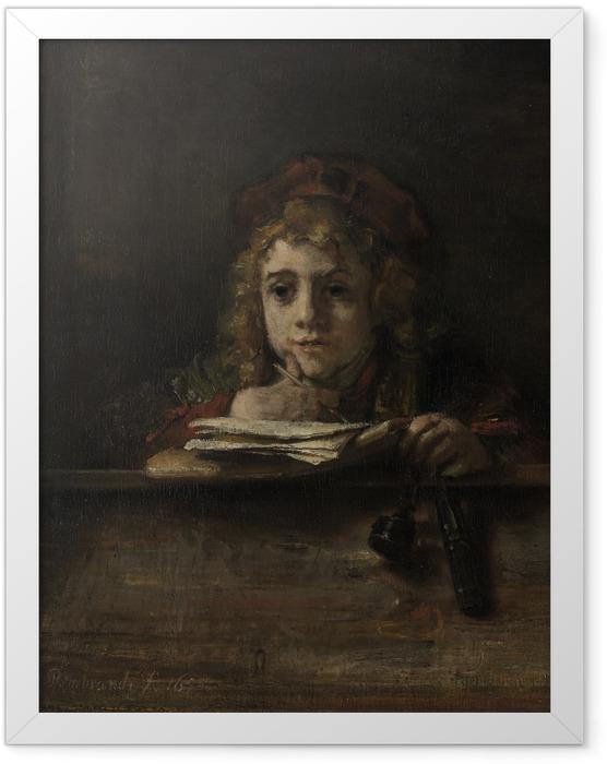 Gerahmtes Poster Rembrandt - Porträt des Titus schreibend an einem Tisch - Reproduktion