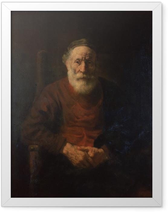 Gerahmtes Poster Rembrandt - Porträt eines alten Mannes in Rot - Reproduktion
