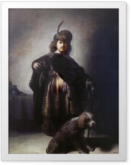 Poster en cadre Rembrandt - Autoportrait de l'artiste en costume oriental avec caniche - Reproductions