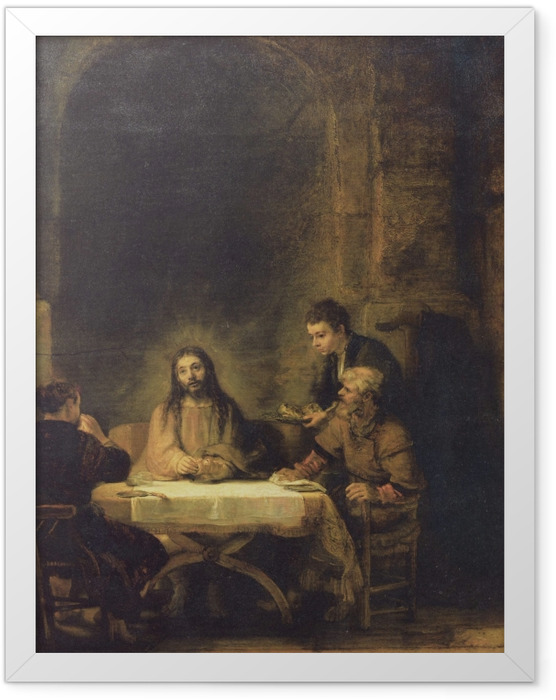 Gerahmtes Poster Rembrandt - Christus in Emmaus - Reproduktion