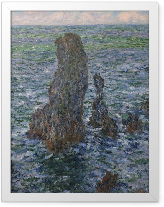 Gerahmtes Poster Claude Monet - Die Felsen von Belle-Île, die wilde Küste - Reproduktion