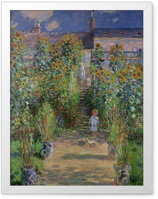 Gerahmtes Poster Claude Monet - Der Garten des Künstlers in Vétheuil - Reproduktion