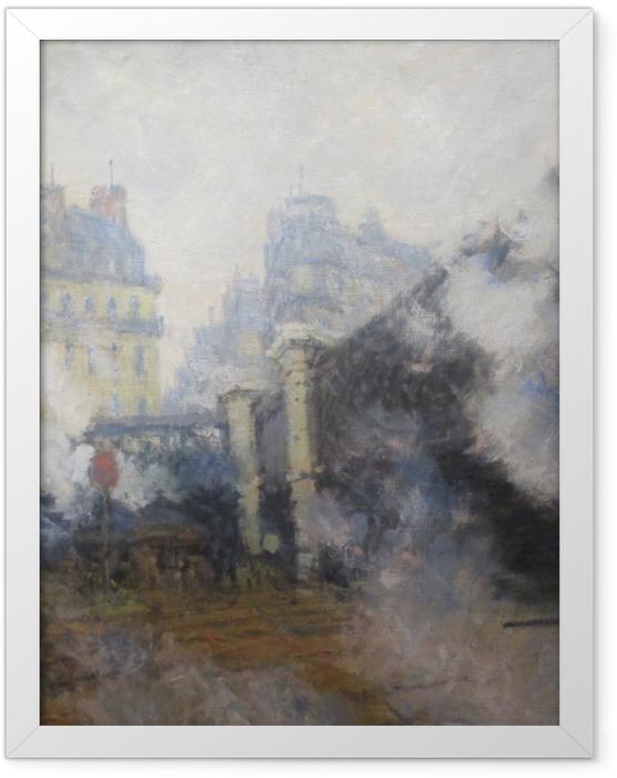 Gerahmtes Poster Claude Monet - Die Europabrücke am Bahnhof Saint-Lazare - Reproduktion