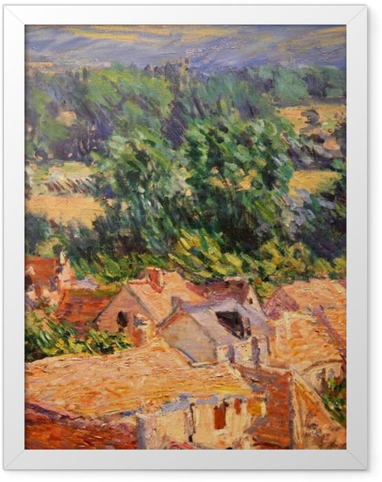 Gerahmtes Poster Claude Monet - Blick auf Dorf Giverny - Reproduktion