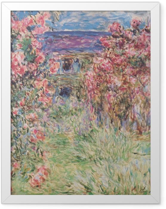 Poster en cadre Claude Monet - La Maison entre les roses - Reproductions