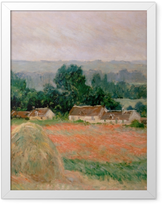 Gerahmtes Poster Claude Monet - Heuhaufen in Giverny - Reproduktion