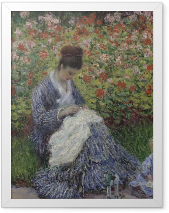 Gerahmtes Poster Claude Monet - Camille Monet mit Kind im Garten des Künstlers in Argenteuil - Reproduktion